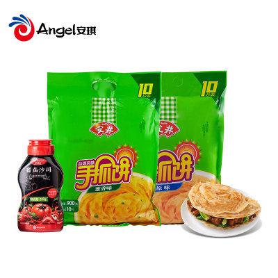 安井手抓饼原味900g(10片)+葱香味900g组合(10片)+百钻番茄沙司248g