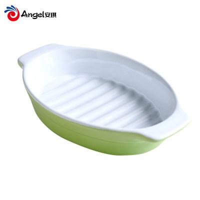 百钻9寸双耳烤盘 方形椭圆形陶瓷焗饭盘 耐高温烤箱家用烘焙工具