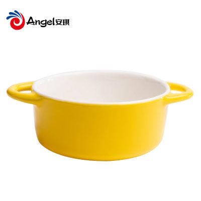 百钻双耳陶瓷碗家用甜品水果沙拉碗早餐焗饭蒸蛋盅小汤碗带耳餐具(颜色随机发放)