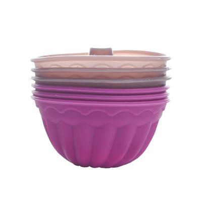百钻硅胶米发糕模具 家用烘焙磨具底托马芬小蛋糕米发糕蒸模6个装